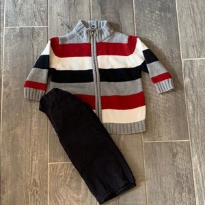 12 months boy sweater and dress pants set